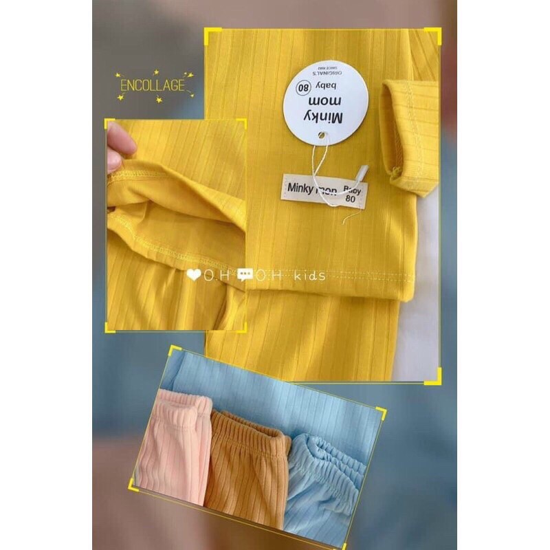 ( bán sỉ) bộ minkymom len thun gân đũa dài tay cho bé