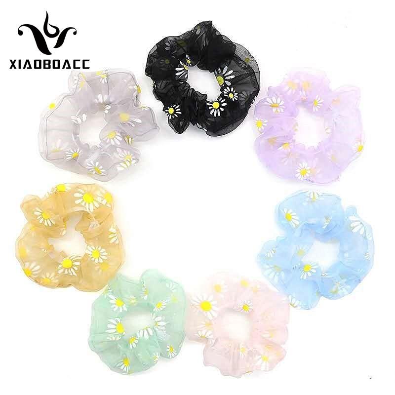 COD CHDM XiaoboACC Scrunchies Dây Buộc Tóc Mỏng Co Giãn Hình Hoa Cúc Thời Trang Hàn Quốc