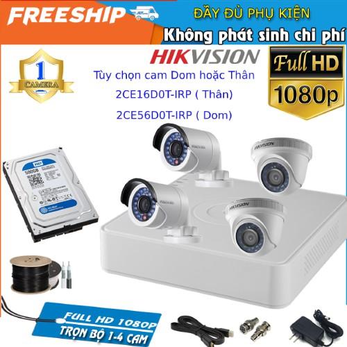 Trọn Bộ Camera Hikvision  FullHD 1080P 2.0M - Bộ 4 Camera Đầy Đủ Phụ Kiện, Kèm HDD 500GB/1TB WD