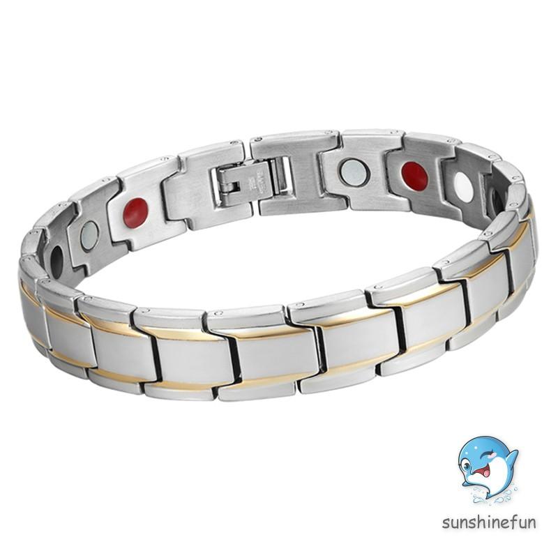 Healthy Energy Bracelet Chain Link Bangle Titanium Steel Magnet Bracelets for Men Jewelry