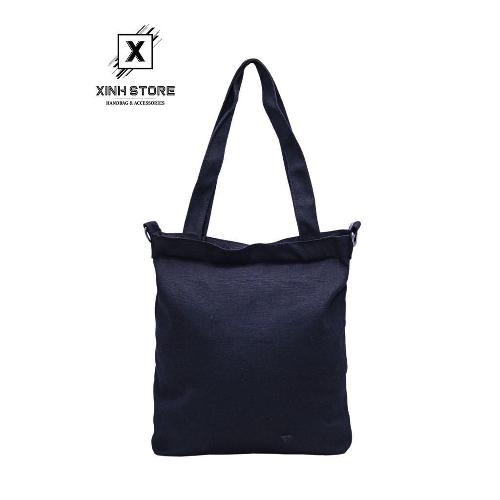 Túi Vải Tote Đeo Chéo Living 3 Ngăn Đen XinhStore