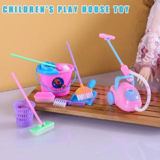 MS 9 Pcs/Set Kid Pretend Play Mini Housekeeping Tools Kitchen Home Cleaning Broom Brush Toy &VN