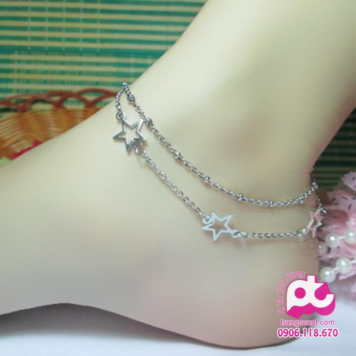 Lắc chân inox nữ cao cấp bảo hành không đen - SY_LCN_64