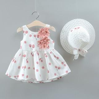 Đầm hở lưng và nón họa tiết hoa anh đào cho bé gái