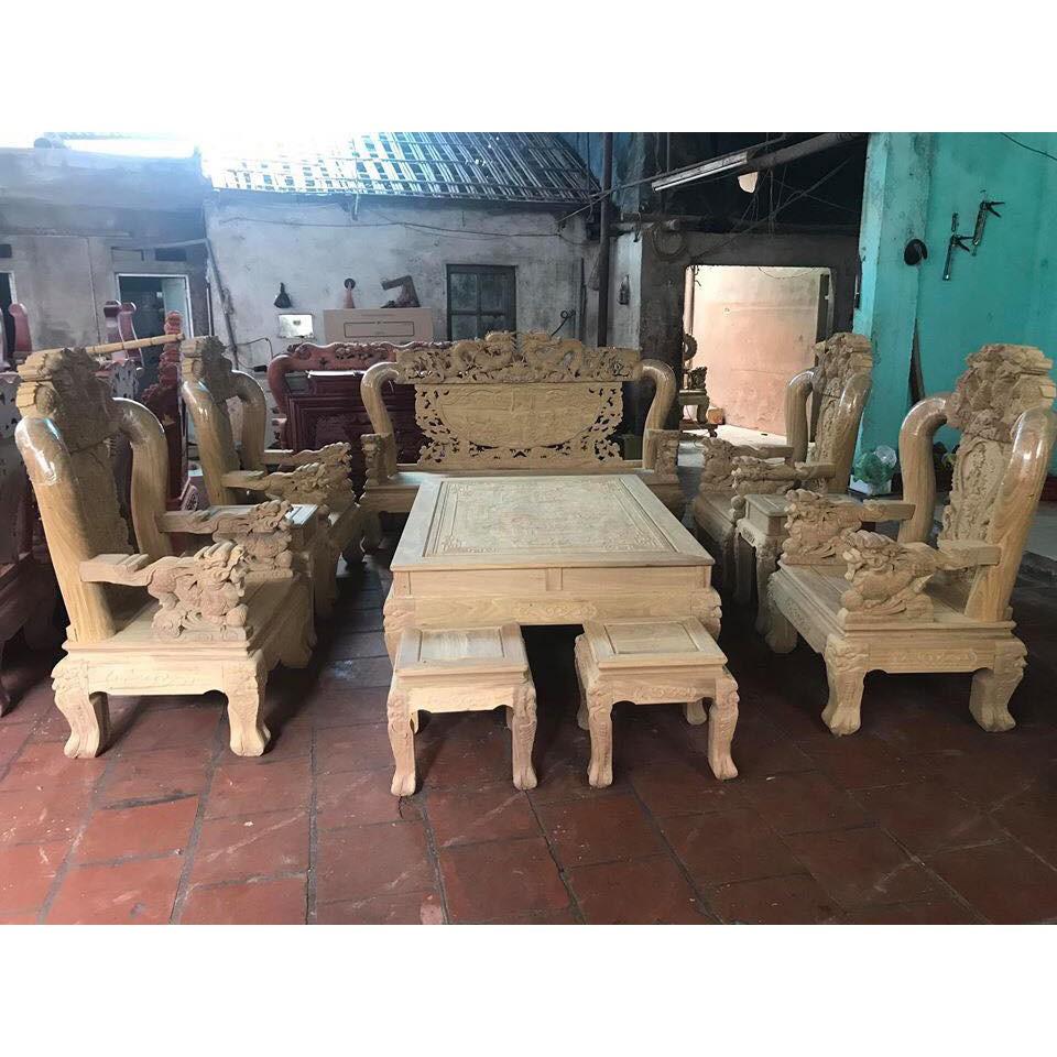 Bộ bàn ghế giả cổ rồng bát tiên gỗ cẩm