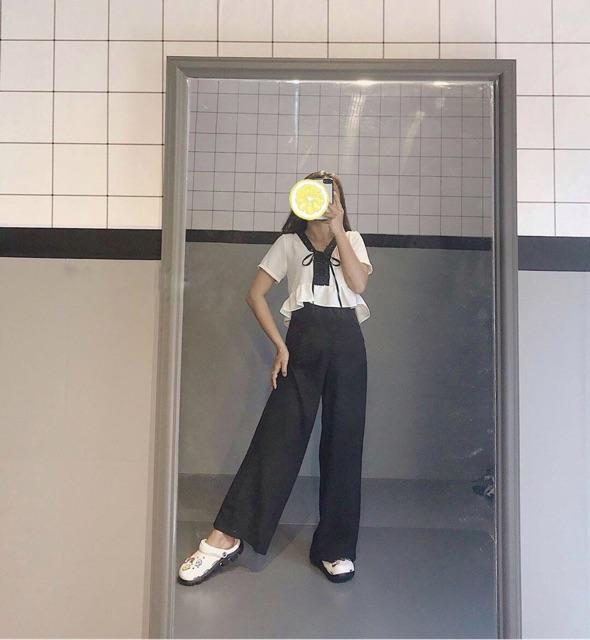 Quần ống rộng culottes suông dài 2 màu đen be (Hàng có sẵn + hình thật)