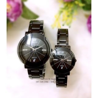 Đồng hồ cặp đôi nam, nữ Halei Black Spider dây thép đen siêu hot thumbnail