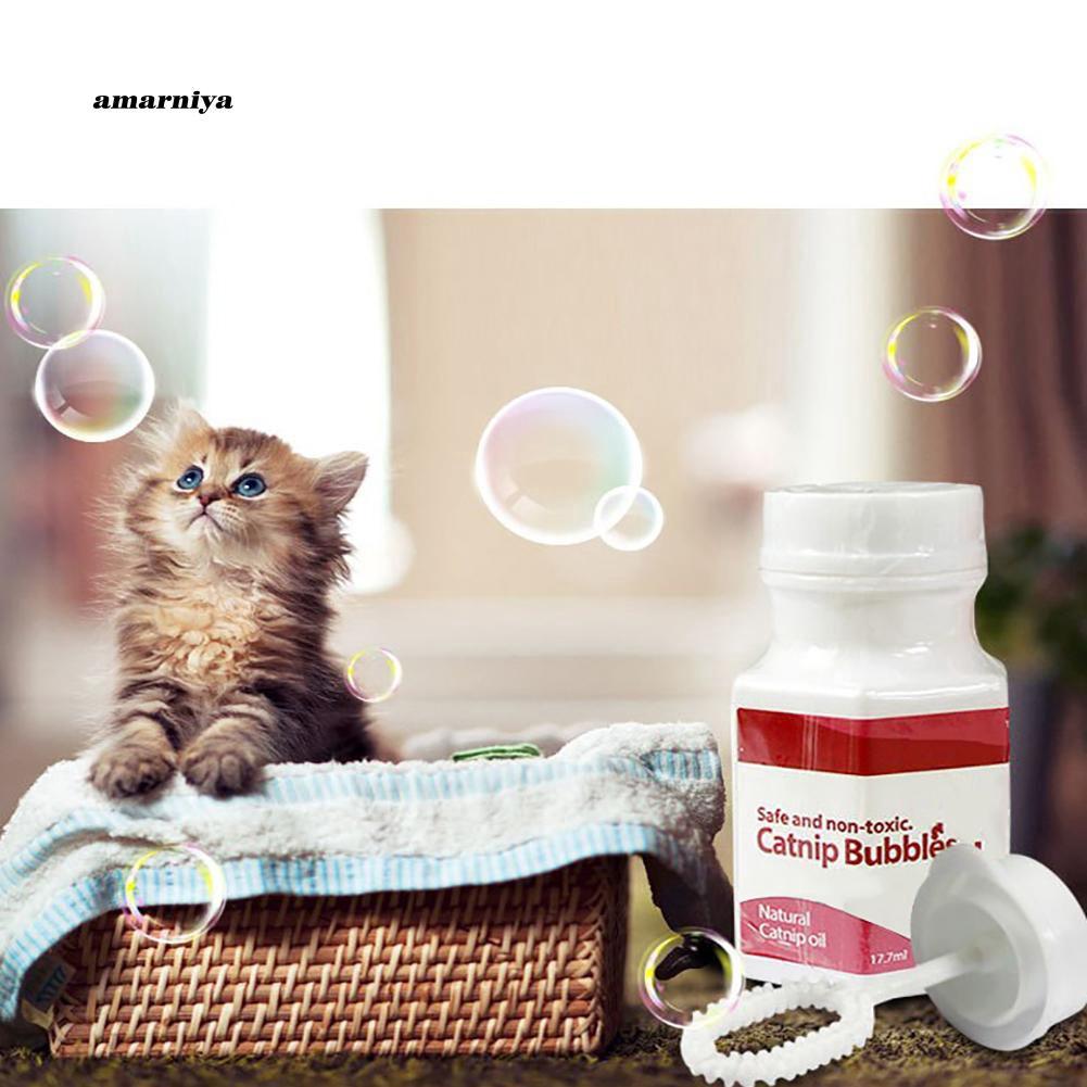AMA♥17.7ml Natural Liquid Catnip Bubbles Oil Blower Cat Kitten Interactive Toys