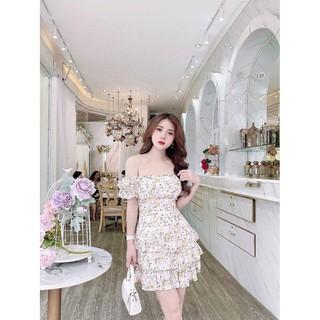 [ FREESHIP ] Đầm Dự Tiệc Nữ – Đầm 3 Tầng Trễ Vai Hoa Nhí Thời Trang Gautier
