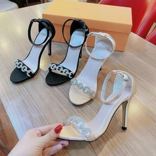 Sandal bít gót quai ngang phối đá 9P - Sandal cao gót 9P nữ Chile