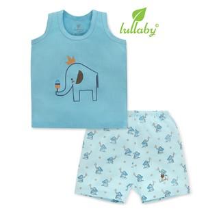 Đồ bộ sát nách Lullaby cho bé trai NH604P Xanh [Thời Trang trẻ em cao cấp – chính hãng Lullaby Store]