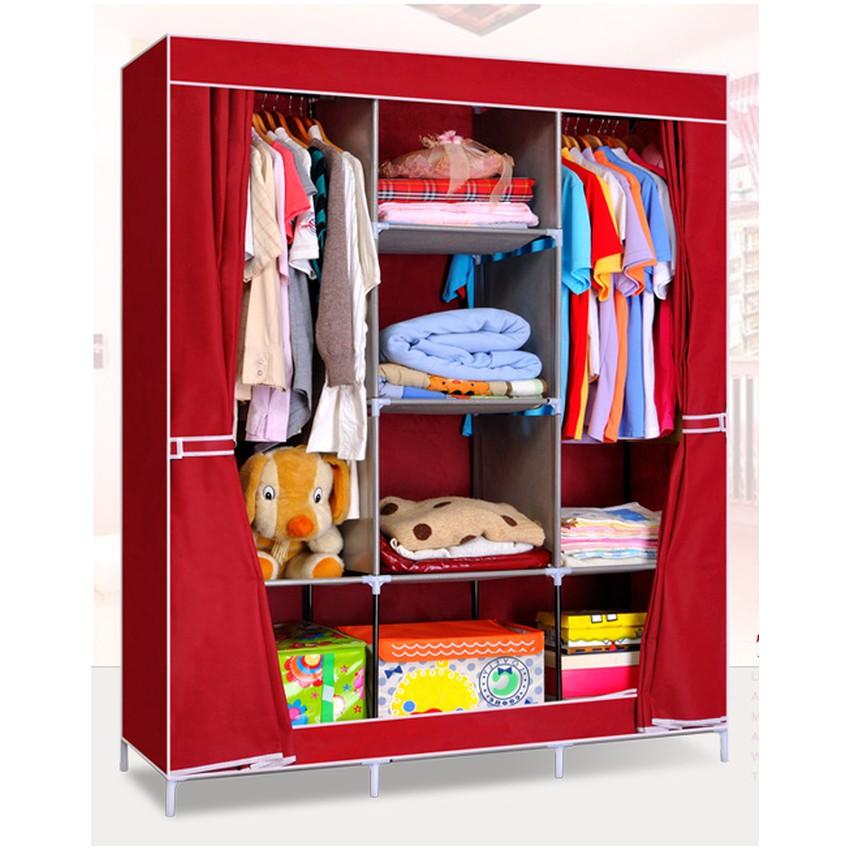 Tủ vải quần áo cao cấp 3 buồng 8 ngăn cửa vén - SmartBuy (Đỏ đô)