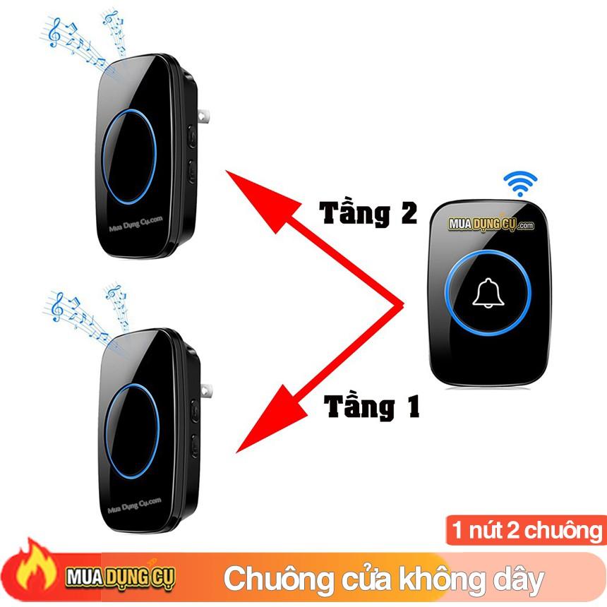 Chuông cửa không dây thông minh 🔥 Bộ 2 chuông 1 nút bấm - Duyka DK814-2C1N