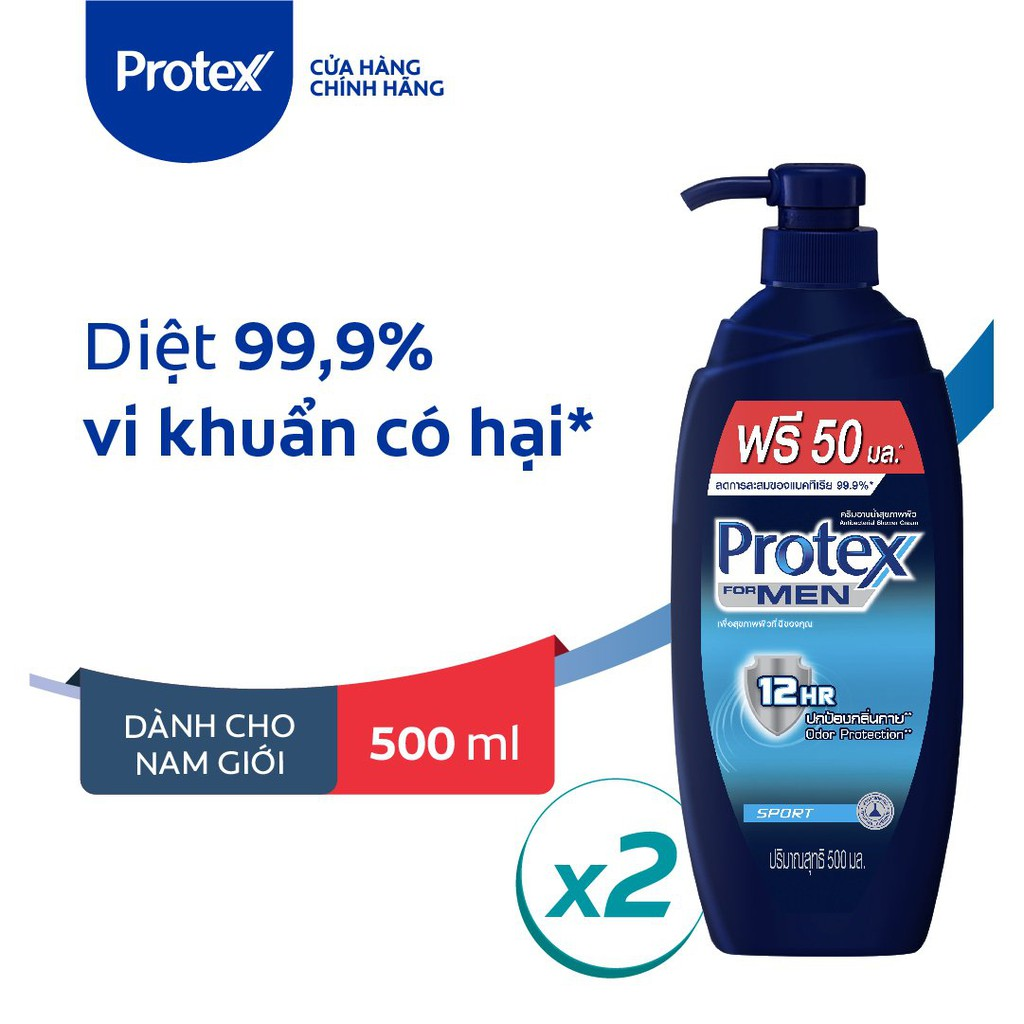 Bộ 2 sữa tắm diệt 99.9% vi khuẩn Protex For Men Sport dành cho nam 500ml/chai