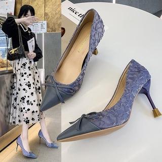 Giày Cao Gót Mũi Nhọn Miệng Nông Thời Trang Công Sở Thanh Lịch 2021
