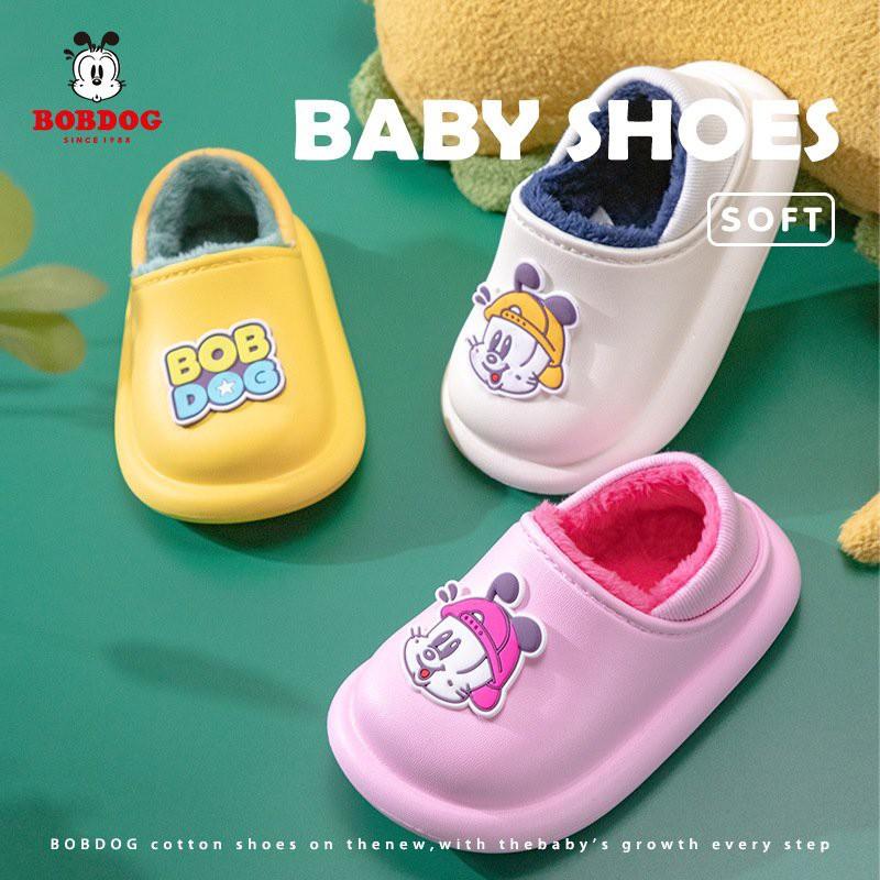 Giày Trẻ Em Bobdog 6031 Dép Sục Lót Lông Cho Bé Trai Bé Gái Siêu Mềm Ấm Chống Trơn Trượt