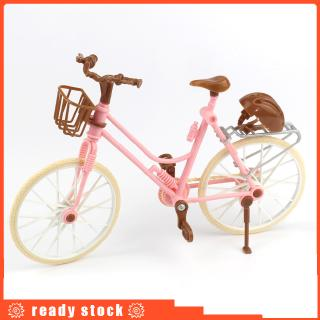 Pink Bicycle Play House Toy Detachable Bike + Basket + Brown Helmet Kids Toys dolls Accessories