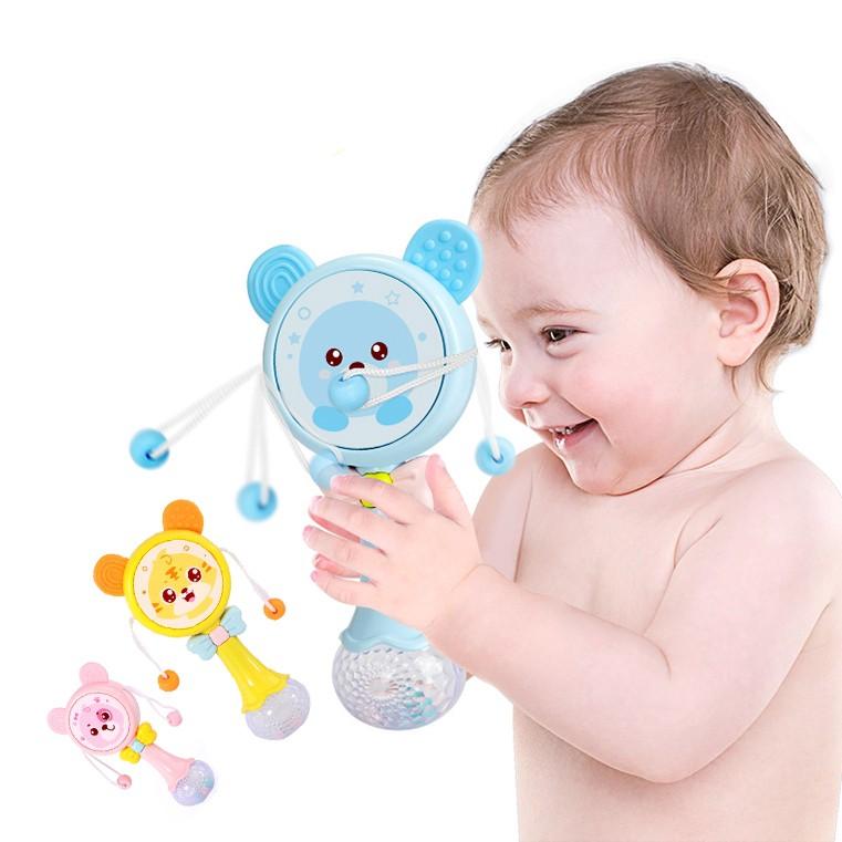 Lục lạc xúc xắc trống Antona mặt gấu đáng yêu có nhạc và đèn đáng yêu cho bé