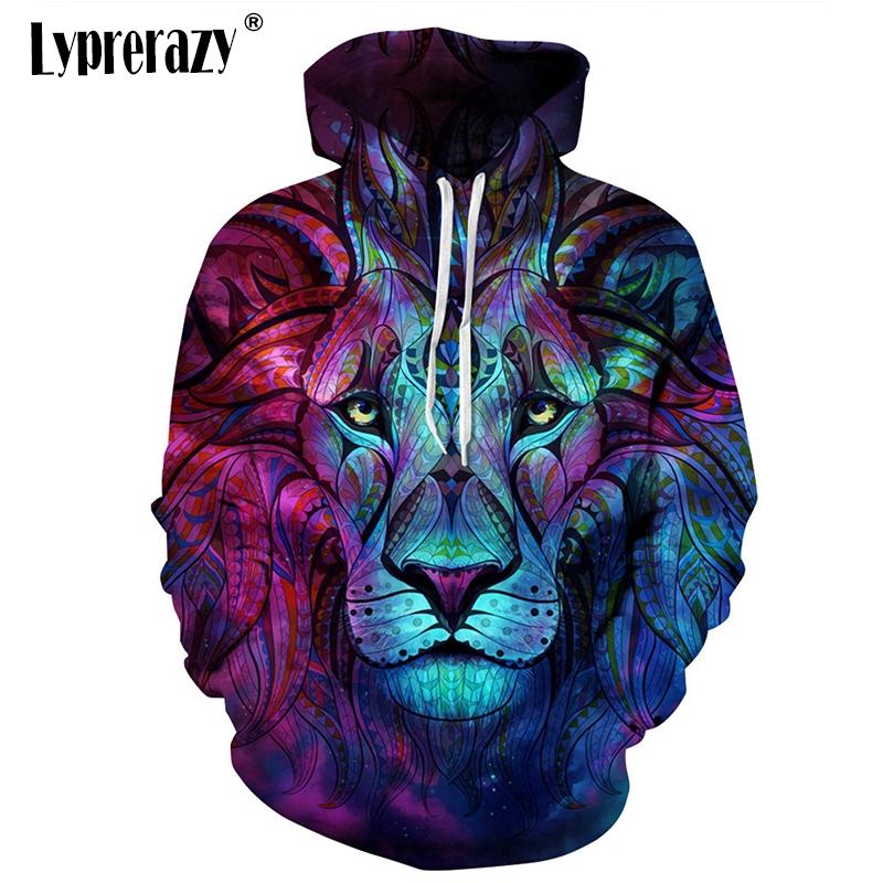 Áo hoodie hình mặt sư tử 3D cá tính cho nam/nữ