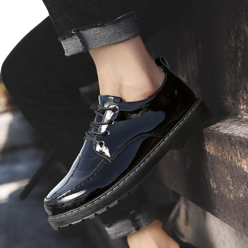 รองเท้า❧Small leather shoes men's bright black British business casual young Korean version of elevated work kitchen ch