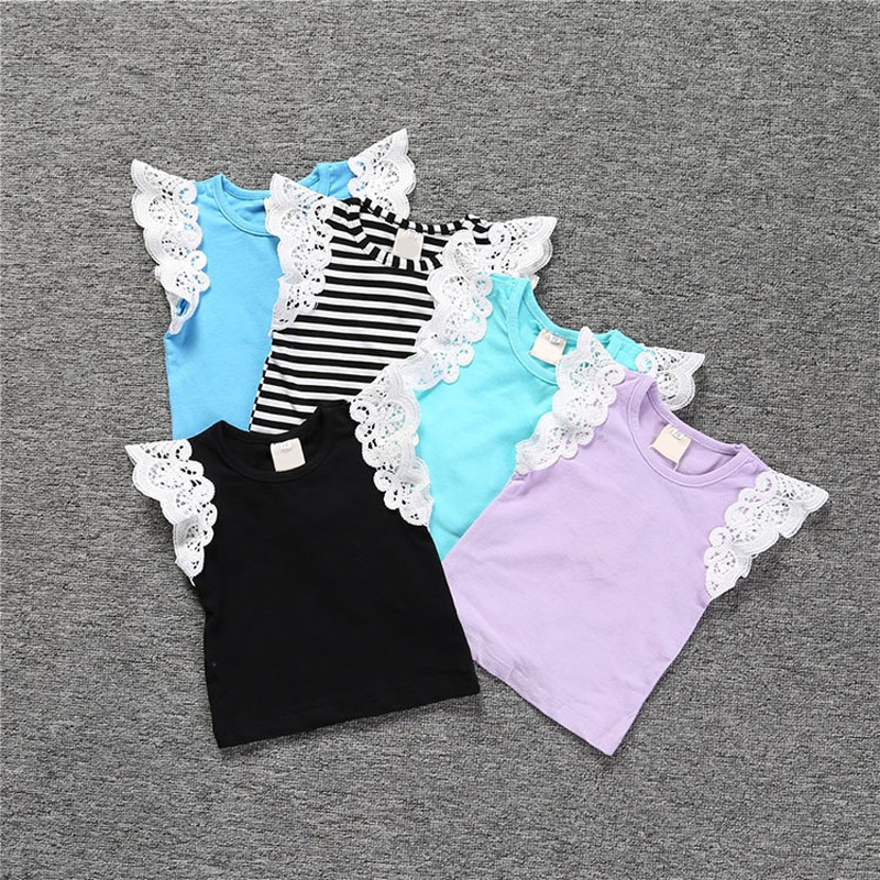 Toddler Kids Baby Girl O-Neck Lace Flying Sleeve T-shirt Top Vest Summer Clothes