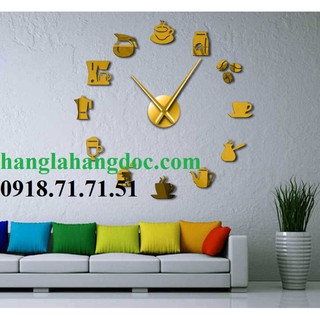 Đồng hồ dán tường cỡ đại chủ đề cafe độc đáo version 19, đường kính dán từ 0.9 - 1.5m
