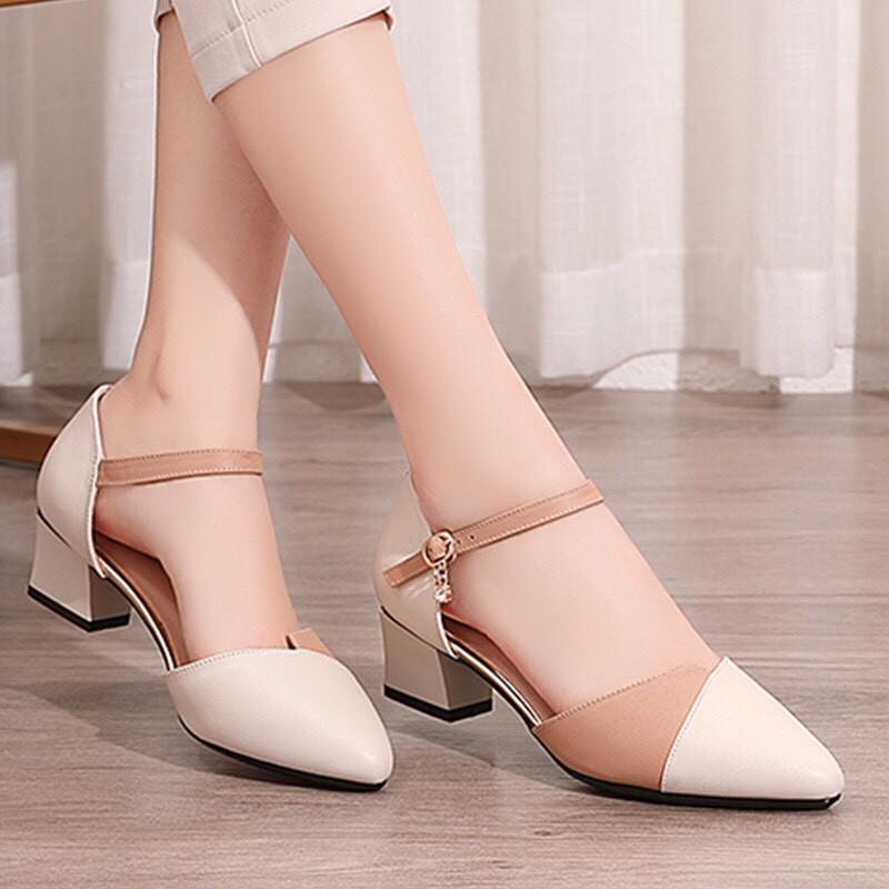 FREESHIP 50K Giày Sandal nữ cao gót vuông 5p phối màu siêu đẹp kèm clip