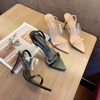 Giày Sandal cao gót 9p mũi nhọn gót nhọn phối quai trong đơn giản mà vẫn sang chảnh