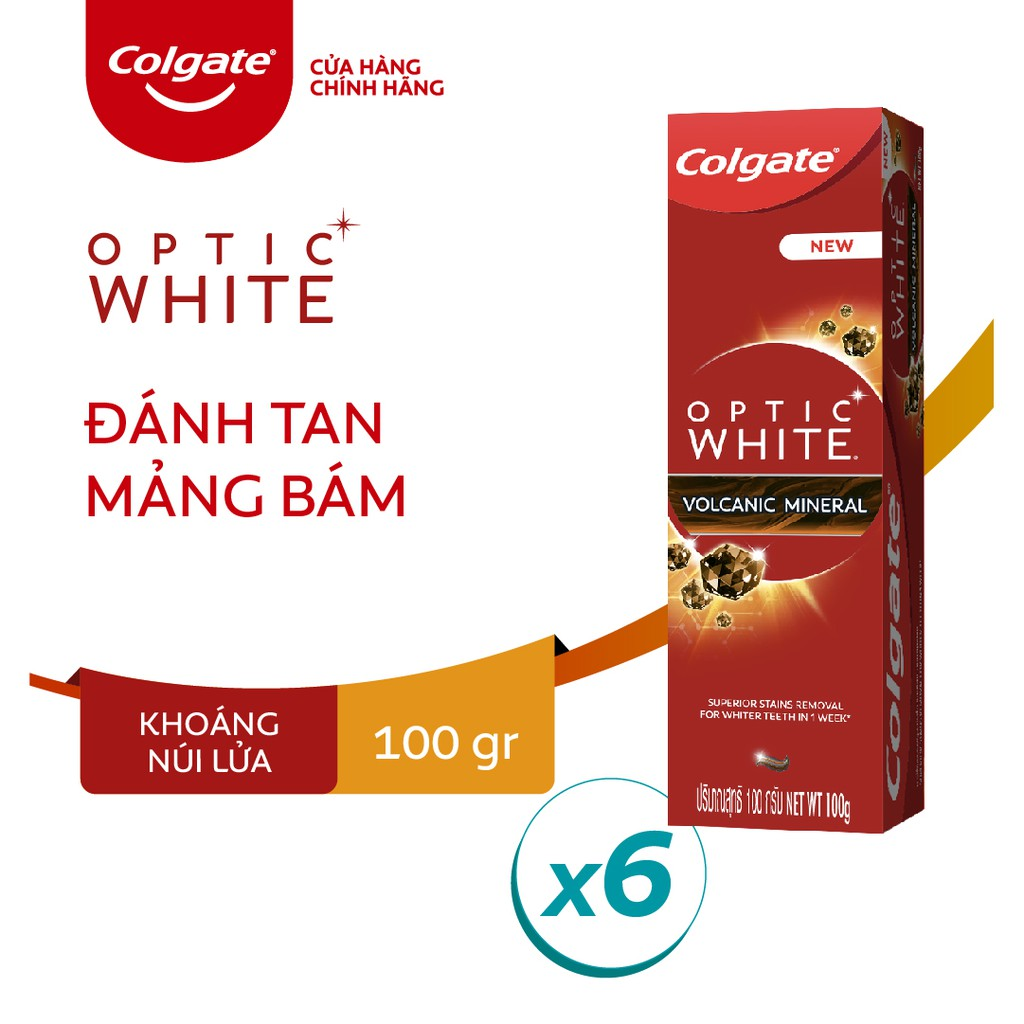 Bộ 6 kem đánh răng làm trắng sáng Colgate Optic White từ khoáng núi lửa Hàn Quốc 100g/