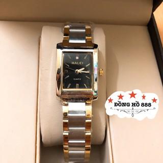 Đồng hồ nữ HALEI máy Nhật chính hãng dây đờ mi mặt vuông đen thép kim loại không gỉ không bay màu chống nước tuyệt đối