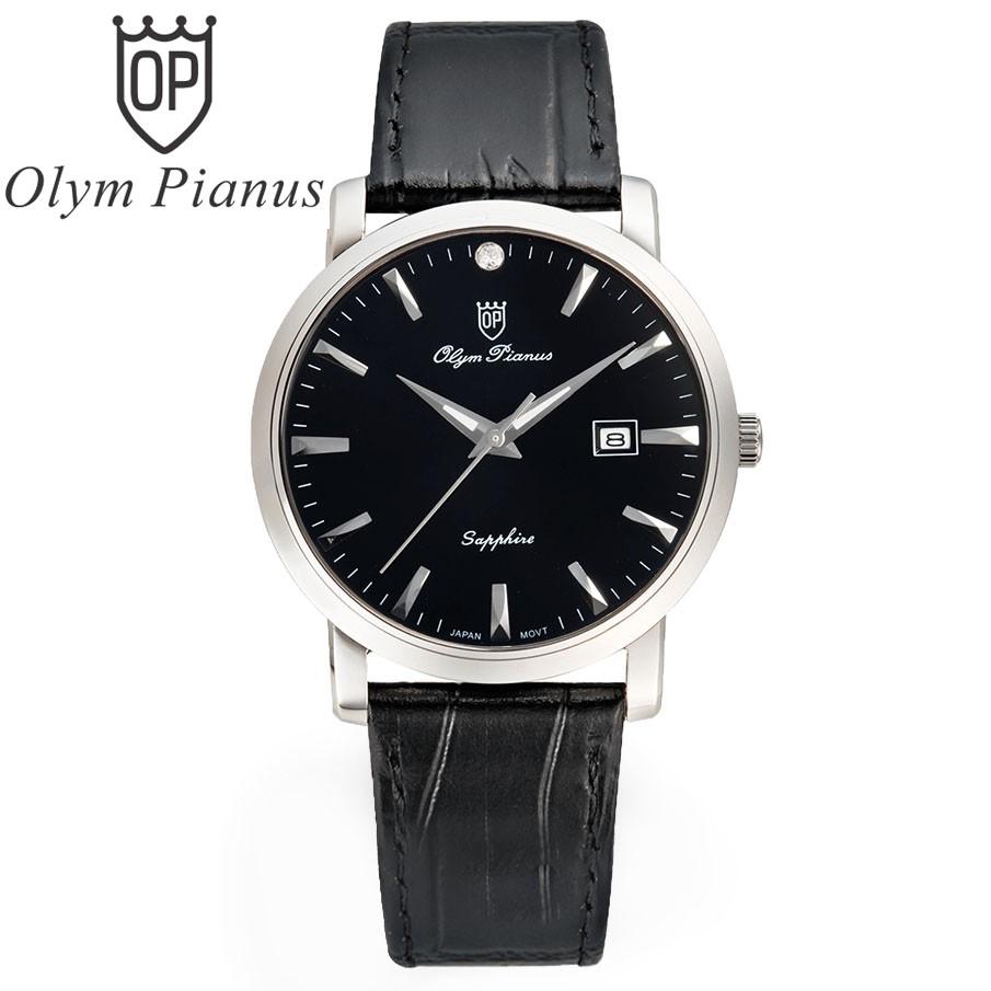 Đồng hồ nam dây da mặt kính sapphire chống xước Olym Pianus OP130-06MS-GL-D