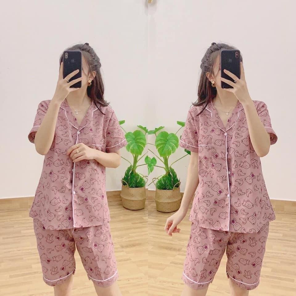 Set Pijama Lửng Kate Nữ [FREESHIP]🌸 Bộ ngủ áo sơ mi thun cộc tay quần ngố pizama hoạt hình mặc ở nhà SIÊU HOT 🌸