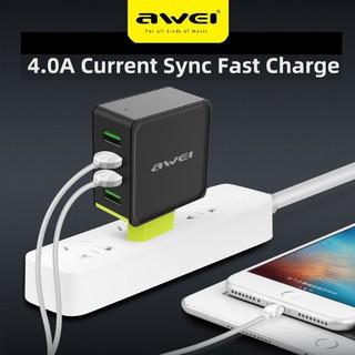 Củ sạc Awei C-842 thông minh 4.0A với 4 đầu ra USB cho điện thoại/Ipad