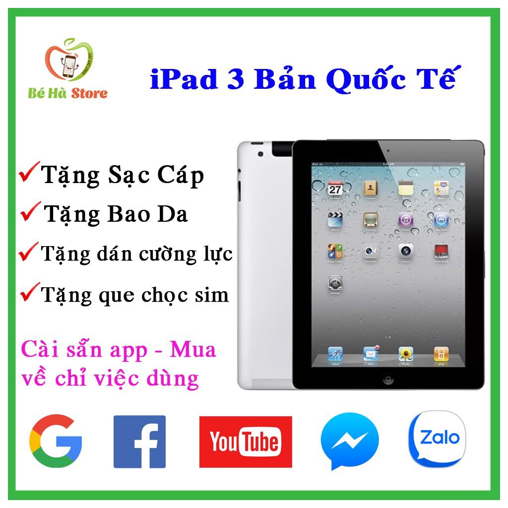 Máy Tính Bảng iPad 3 - 16G/ 32G/ 64Gb  (Wifi + 3G) - Zin Đẹp 99% - Pin cực trâu - Màn Rentina sắc nét - Ram 1G /chip A5X