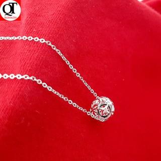 Bộ dây chuyền kèm mặt quả cầu kim tiền phay 100% chất liệu bạc thật không xi mạ Bạc Quang Thản