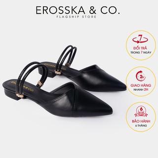 Giày cao gót Erosska mũi nhọn cách điệu phối quai dây cao 2cm màu đen_ EL004