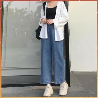 1hitshop Quần Jeans Nữ Ống Rộng SIMPLE JEANS XANH ĐẬM Lưng Cao Dáng Suông Ulzzang (Ảnh Thật)