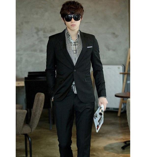 Áo vest nam màu đen túi sọc size m l xl