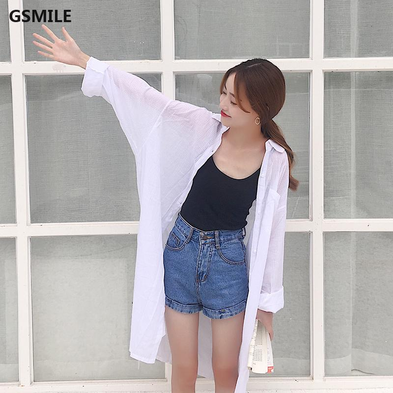 Solid Color Long Sleeve Blouse Women Korean Thin Sunscreen White Lapel Long Tops
