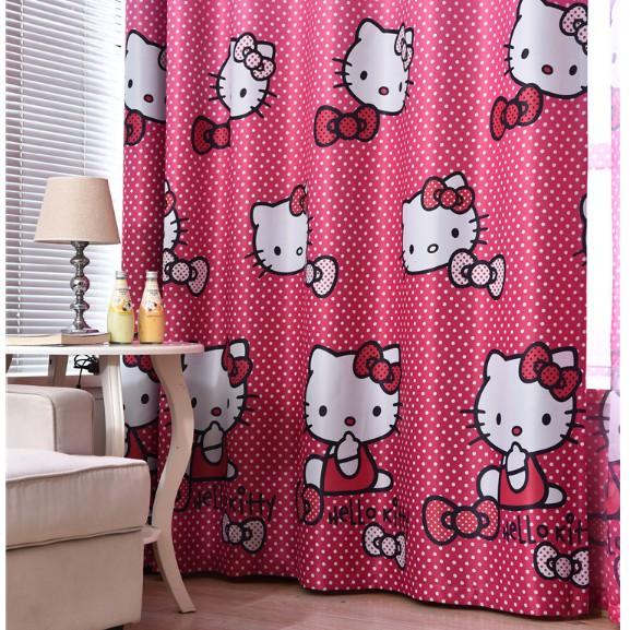Rèm Cửa Trang Trí Cao Cấp Hoạt Hình Mẫu Mèo Hello Kitty Màu Hồng Chấm Bi Siêu Xinh