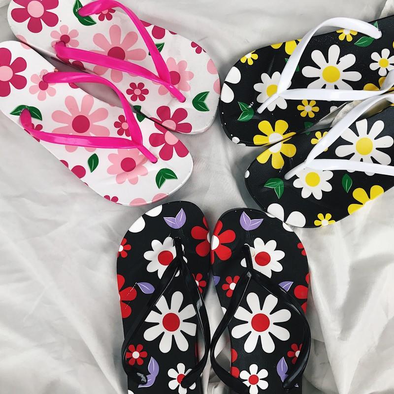 Dép tông xỏ ngón họa tiết hoa lá cho bạn nữ ngày hè  xinh TƯƠI thời trang