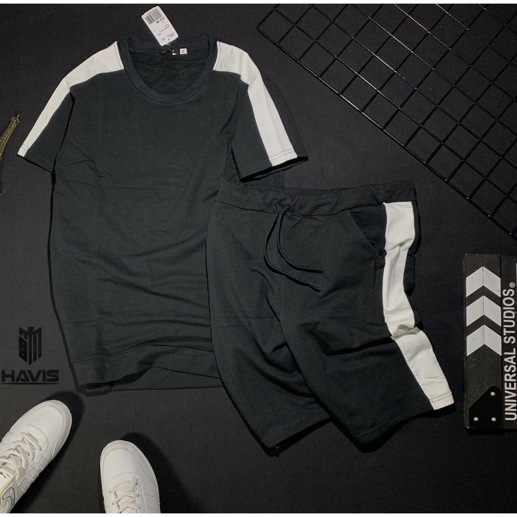 Set bộ quần áo thể thao nam phối sọc giữa cao cấp