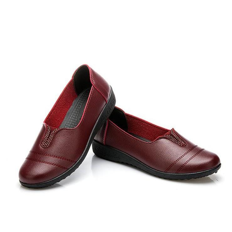 Giày da bò thật màu nho