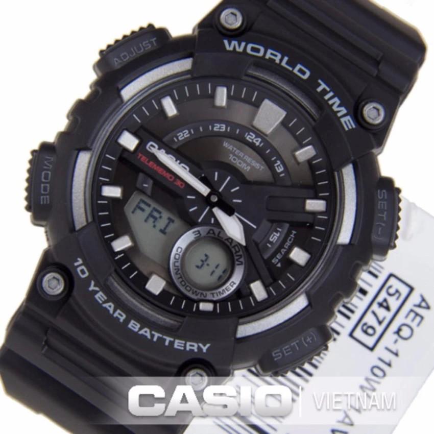 Đồng hồ nam dây nhựa Casio chính hãng Anh Khuê AEQ-110W-1AVDF