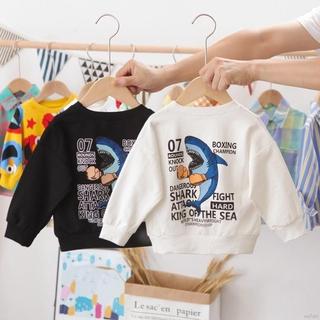 Áo Thun Dài Tay Họa Tiết Hình Con Cá Mập Theo Phong Cách Hoạt Hình Dùng Cho Trẻ Từ 0 Tới 5 Tuổi