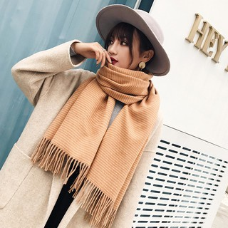 Winter ladies scarf long double-sided wave point dual-use large shawl high-grade