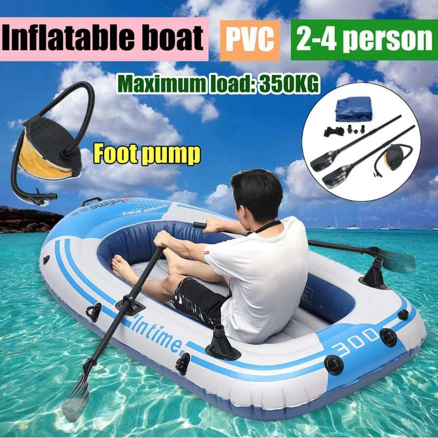 [ Home Decor ] Thuyền phao Hơi Dã Ngoại Plastic Boats 231x130cm ( Trắng Xanh )