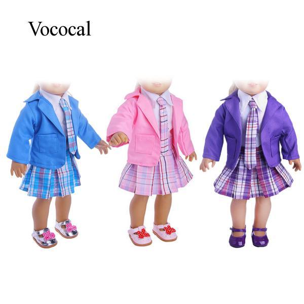 5 PCS Student Clothing School Style Pleated Dress Shirt Tie Clothes Shoes Kit