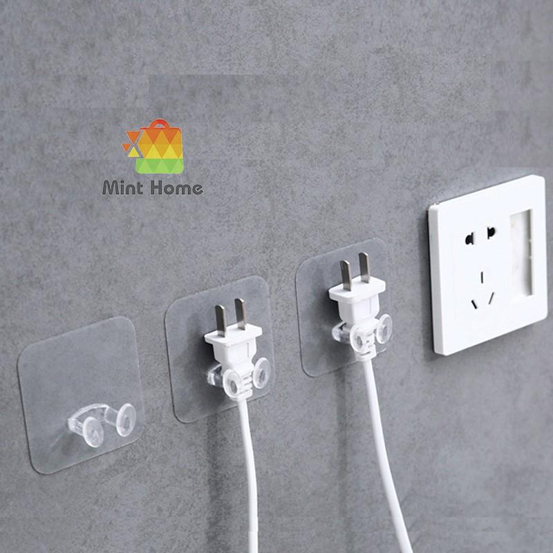 Móc dán tường giữ dây điện, phích cắm, kẹp dây điện, treo đa năng siêu chắc, chịu lực, tiện lợi loại trong suốt
