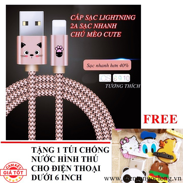 Cáp Sạc Lightning Dây Dù Cao Cấp Hình Chú Mèo Tặng Túi Chống Nước - 2617566 , 775805643 , 322_775805643 , 85000 , Cap-Sac-Lightning-Day-Du-Cao-Cap-Hinh-Chu-Meo-Tang-Tui-Chong-Nuoc-322_775805643 , shopee.vn , Cáp Sạc Lightning Dây Dù Cao Cấp Hình Chú Mèo Tặng Túi Chống Nước